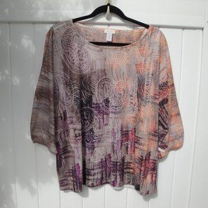 CHICO'S Paisley Knit Top L Peach